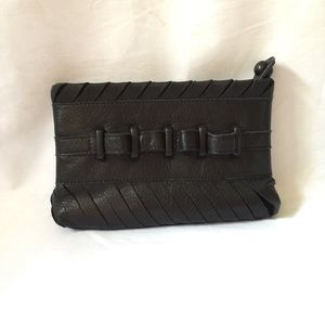 L.A.M.B. Black Leather Clutch with Finger Slots